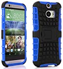 myLife Cool Blue + Warm Black {Rugged Design} Two Piece Neo Hybrid (Shockproof Kickstand) Case for the All-New HTC One M8 Android Smartphone - AKA, 2nd Gen HTC One (External Hard Fit Armor With Built in Kick Stand + Internal Soft Silicone Rubberized Flex Gel Full Body Bumper Guard)