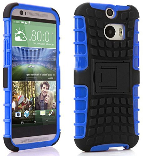 Mylife Cool Blue + Warm Black {Rugged Design} Two Piece Neo Hybrid (Shockproof Kickstand) Case For The All-New Htc One M8 Android Smartphone - Aka, 2Nd Gen Htc One (External Hard Fit Armor With Built In Kick Stand + Internal Soft Silicone Rubberized Flex