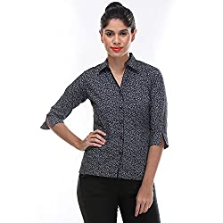 Zoysia Women 3/4 Cotton Black Paisley Shirt