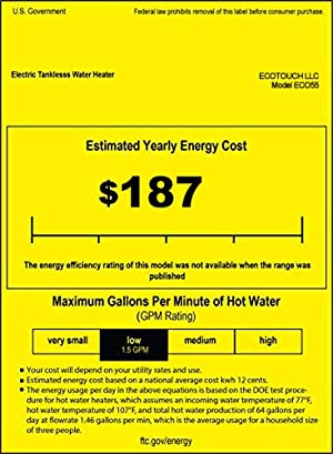 ECOTOUCH Tankless Water Heater Electric, 1.5 GPM On Demand Hot Water Heater with Remote Control Digital Dispaly Energy Efficient 5.5kW at 240V, Black (Color: ECO55-Black (with remote control))