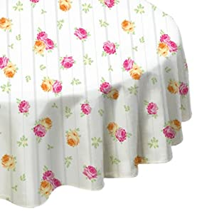 Laura Ashley Patchwork Microfiber Fabric Tablecloth 70-Inch Round Spill Proof and Stain Resistant, Ellie