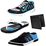 Earton Men Combo Pack Of 4 Sport Shoes With Casual Shoe & Wallet, Slipper