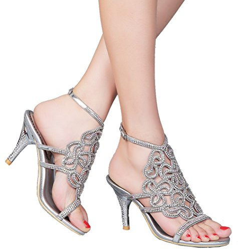 Abby L019 Womens Unique Wedding Bride Bridesmaid Party Show Dress Cone Heel Micro-fiber Sandals Silver 8 M US