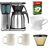 Bonavita BV1800TH 8 Cup Coffee Maker With Thermal Carafe + Porcelain Coffee Filter Cone Size 4 + (2) Ceramic Coffee Mugs + Paper Coffee Filter + #4 Cone Permanent Coffee Filter