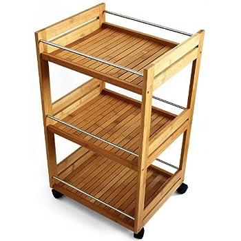 Pas cher meuble rangement cuisine roulant desserte for Meuble rangement bambou