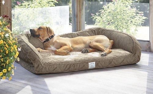 Fleece Lined Deep Dish Dog Bed With Memory Foam