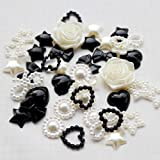 LOVEKITTY TM 50 Pcs Mixed Cream and Black Mixed Flatback Pearl Cabochon (size: 10mm-15mm)