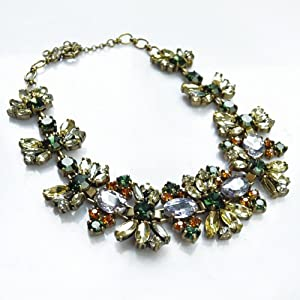 Crystal Floral Statement Necklace - Great Quality