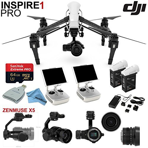 DJI Inspire 1 Pro Quadcopter Drone with eDigitalUSA Ready To Fly Kit: Includes Extra TB47B Battery, 2 Wireless Transmitters and more...