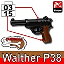 Walther P38 Overmolded Pistol 3 Pack - Custom LEGO Minifigure Pieces