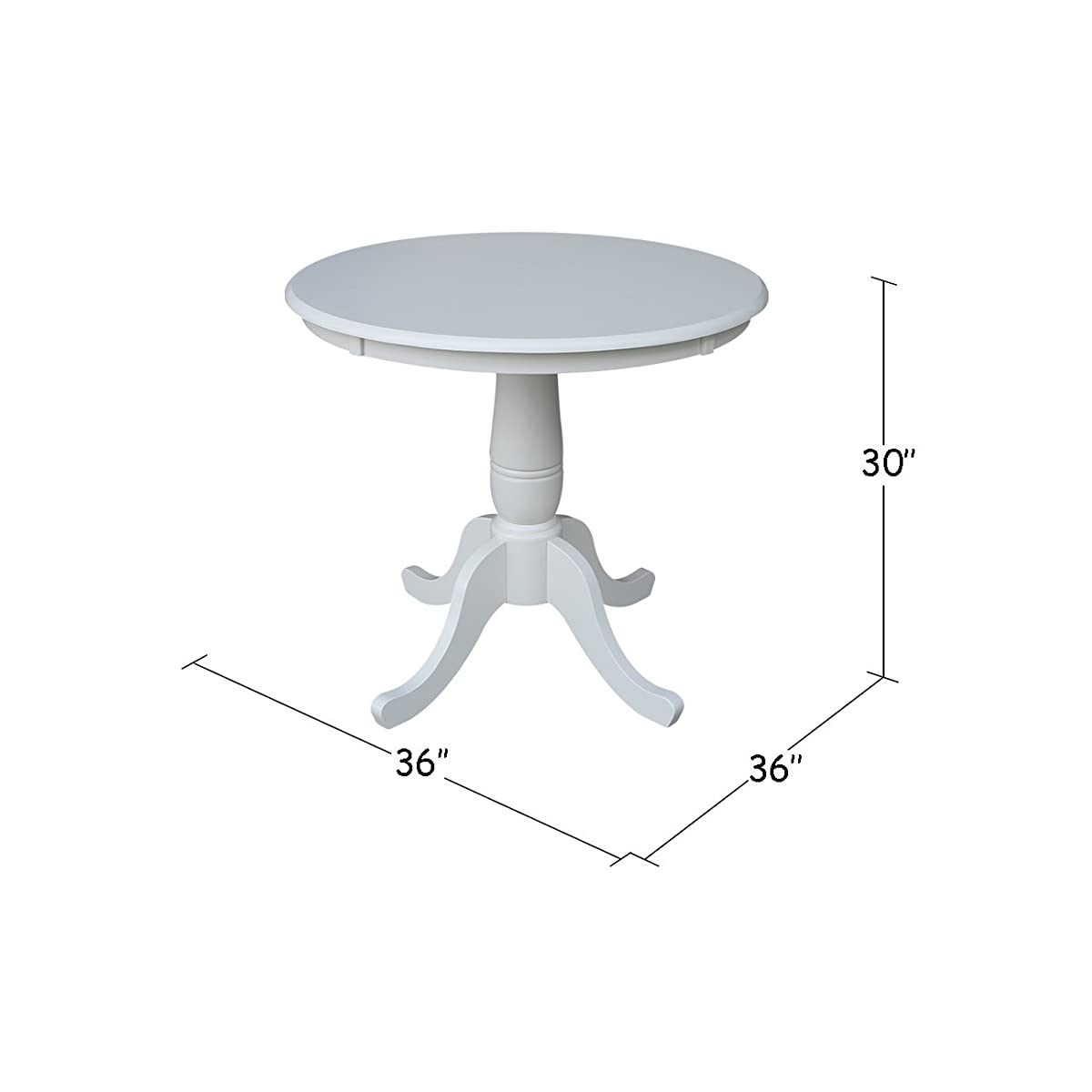 International Concepts 36-Inch Round by 30-Inch High Top Ped Table, Linen White