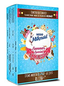 MILKMAID Ice Cream Kit - Contains MILKMAID Tin 400 gm, Cream 200 ml, Food Grade Container and Recipe booklet