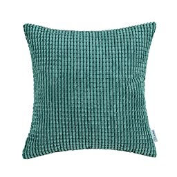 CaliTime Pillow Covers Comfortable Soft Corduroy Corn Striped 18 X 18 Inches Teal