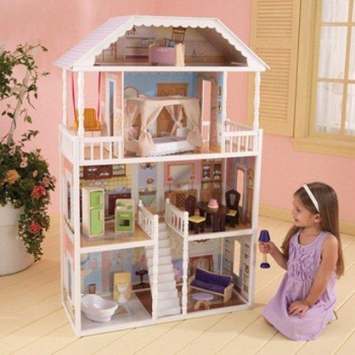 Casa delle bambole in legno a 4 piani kidkraft savannah for Piani di casa in stile tradizionale
