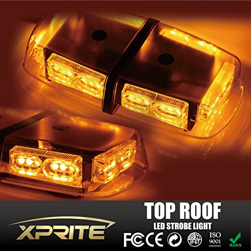 Xprite Gen 3 Amber Yellow 36 LED 18 Watts Hign Intensity Law Enforcement Emergency Hazard Warning LED Mini Bar Strobe Light with Magnetic Base (Amber Led Warning Lights compare prices)