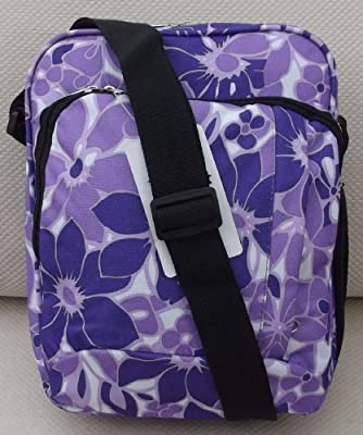 Courier bag or sling/shoulder style girls satchel in Purple flowers / medium size CABIN APPROVED