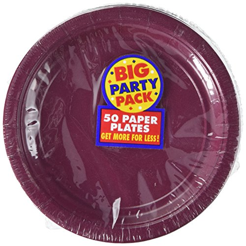 Amscan Big Party Pack 50 Count Paper Dessert Plates, 7-Inch, Berry