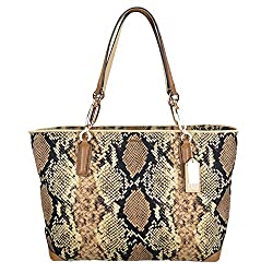 Coach Madison Python Fabric Printed East West Gallery Tote 31501 Natural