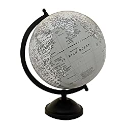EnticeSelectionsBig Desktop Rotating Globe Table Decor World Earth Gray Ocean Geography 8 Inch