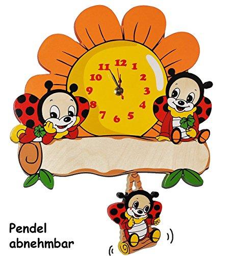 Wanduhr Uhr Holz Kinder Kinderzimmer Kinderuhr ~ Wanduhr  Uhr Aus Holz  Marienkafer U Sonnenblume  40 Cm Gro Uhr