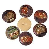 Summens Kinder 50St Eule DIY Toys Knopf Runde aus Holzknopf