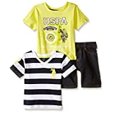 U.S. Polo Assn. Boys' Rugby Striped, Print T-Shirt and Denim Short, Neon Yellow, 3-6 Months