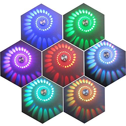 GHB 3W RGB LED Lampada da Parete Lampada da Muro in Alluminio 7 Colori con Telecomando - Argento