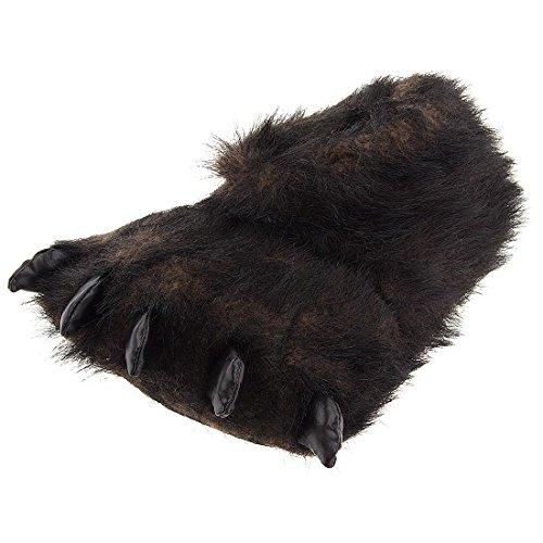 Fuzzy Black Bear Paw Slippers for Men and Women Large (Bear Slippers compare prices)