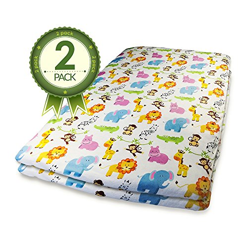 Pack N Play Crib Sheets - 2 Pack Of Jungle Animal Print Fitted Sheet Set (Play Yard Fitted Sheet compare prices)