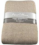 100% Cotton Herringbone Design Natural & Beige 3 Seater Sofa Bed Settee Throw 225cm x 250cm
