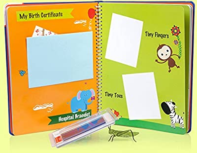 (FLASH DEAL) BABY MEMORY BOOK with Clean Touch INK PAD & Keepsake Pockets - Perfect Baby Gifts for Newborn Boys & Girls - Baby Journal - 100% MONEY BACK GUARANTEE by LOLA CHENG