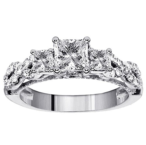 Cheapest 1.80 CT TW 3-Stone Princess Cut Diamond Engagement Ring in Platinum Braided Setting – Size 6.5