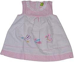 Be BeBo Baby Girl's cotton Regular Fit Dress (575, Pink, 1-2yrs)