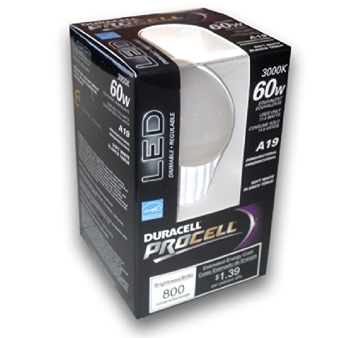 Duracell Procell 11.5 Watt Led Light Bulb - Dimmable Omni-Directional Soft White 800 Lumens Led, 3000K