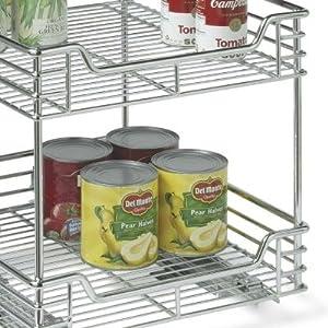 Household Essentials C21517 2-Tier Sliding Cabinet Organizer, Chrome