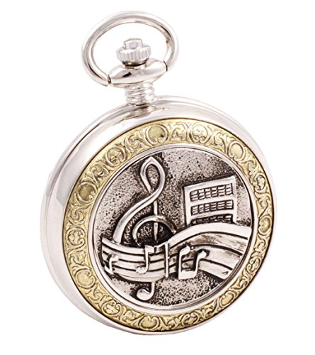 Shoppewatch Pocket Watch Music Symbols Motif Roman Numerals with Chain Steampunk Cosplay PW-94 (Costume Pocket Watch)