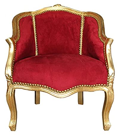 Casa Padrino Baroque Ladies Salon Chair Bordeaux / Gold - Antique Furniture Style