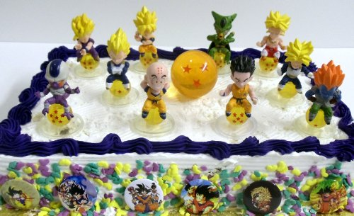 Unique Dragon Ball Z 17 Piece Birthday Cake Topper Featuring 10 Different Characters From The
