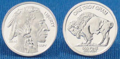(3) 1 Gram .999 Pure Fine Solid Silver Eagle Buffalo Liberty Nickel Five Cent Design Bullion Ingot Coin