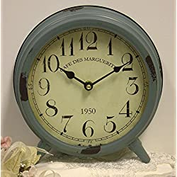 Shabby Cottage Chic Metal Desk Mantel Clock Home Decor