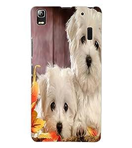 ColourCraft Cute Puppies Design Back Case Cover for LENOVO A7000 PLUS