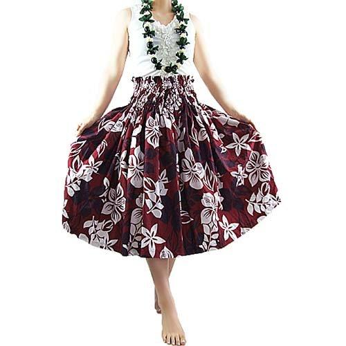 ■ JA9013 Hula single Pau skirt wine x white 70 cm length | Hula skirt | Hula outfit Pau skirt | Hula costume | Hula Pau skirt | Hula Pannier | hula dancing costume dress | Hula Hawaii | muumuu | Hula dress | Hula store | Hula