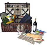 Classic Wicker Picnic Basket With Built-in Food Compartment , Upscale Service for 4 w/ Canterbury Fleece Blanket