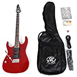 SX IB4K LH MRD Left Handed Electric Guitar Package Red w/ Amp, Carry Bag and Instructional DVD