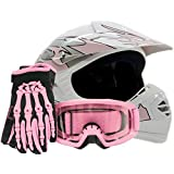 Youth Offroad Gear Combo Helmet Gloves Goggles DOT Motocross ATV Dirt Bike MX Motorcycle Pink - Large