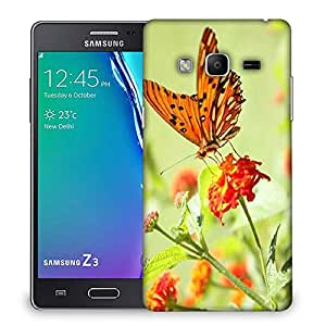 Snoogg Orange Butterfly Designer Protective Phone Back Case Cover For Samsung Galaxy Tizen T3