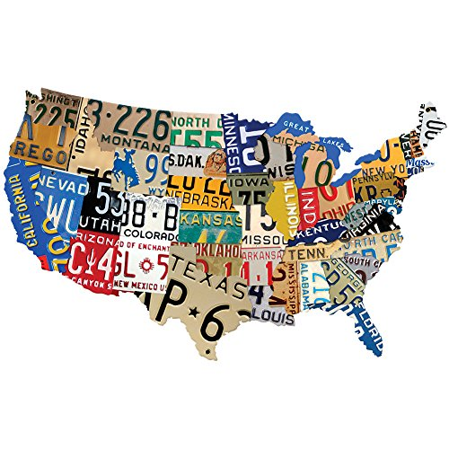 USA License Plates Sign - Custom Metal Steel Map Of The Continental US