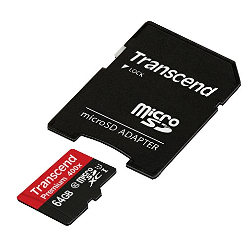 Transcend 64GB MicroSDXC Class 10 UHS-1 Memory Card with Adapter up to 60MB/s (TS64GUSDU1PE)