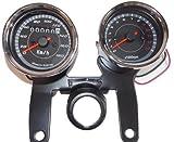 機械式 スピード メーター 電気 式 タコメーター & ステー セット LED (180km/h)