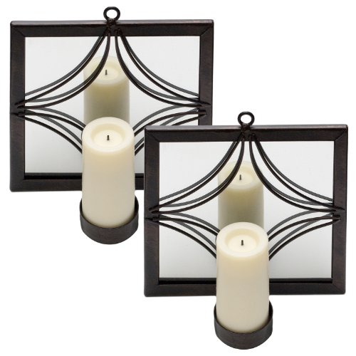 Candle Impressions Set Of 2 Bronze Mirror Sconces With Flameless Votives - Square
